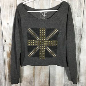 Tops - Studded Embellished Light Weight Sweatshirt Crop